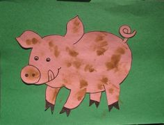 P is for pig Muddy pig craft--great for any age. Q-tips and watery brown paint.