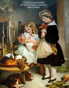 'Children and Rabbits' Sir Edwin Henry Landseer 19th Century