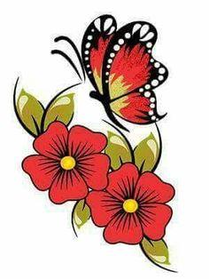 Butterfly over flowers Star Painting, One Stroke Painting, Fabric Painting, Flower Images, Flower Art, Colorful Drawings, Art Drawings, Scandinavian Folk Art, Butterfly Art