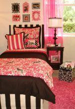 preppy pink and black dorm room bedding set