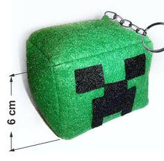 Chaveiro Creeper em feltro - Minecraft