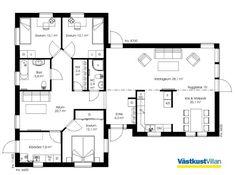 Schwedenhaus bungalow grundriss  Schwedenhaus eingeschossig SkandiHaus 148 Grundriss | Hausideen ...