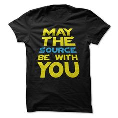 May the source be with you - Great computer programmers create and alter great source code. When your job or hobby consists of creating greatness through source code, you have got some great responsibility. May the source be with you statement t-shirt for great programmers. (Programmer Tshirts)