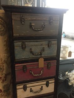 """A stunning individual piece of furniture used but in perfect condition. The chest has seven suitcase fastening drawers which are ideal for storage! The chest is 5 ft tall 18"""" wide 13"""" deep. 