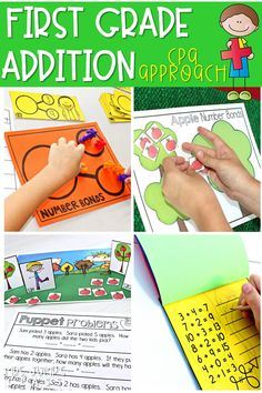 First grade addition activities that follow the research-based CPA approach. From hands-on learning to abstract activities, students become addition experts. #firstgradeaddition #additionactivities #1stgrademath