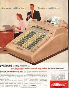 """1956 NATIONAL CASH REGISTER vintage magazine advertisement """"half the time"""" ~ She saves half the time ... Boss saves all the cost! National's adding machine ... Live keyboard with keytouch adjustable to each operator ~"""