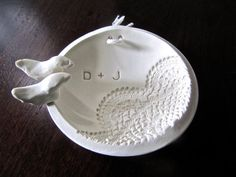 Custom Ring Bearer Bowl - Lace with Perched Love Birds - Bride and Groom Initials - ring bearer wedding - ring bearer pillow alternate