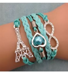 Bracelet Bleu Tour Eiffel + Coeur + Infini
