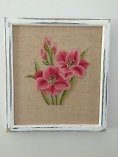 VINTAGE HAND EMBROIDERED PICTURE FRAMED - PINK FLOWERS