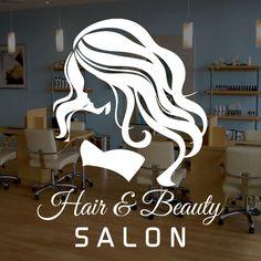 WOMAN HAIR & BEAUTY SALON - Vinyl Window Sticker, Decal, Business Signs