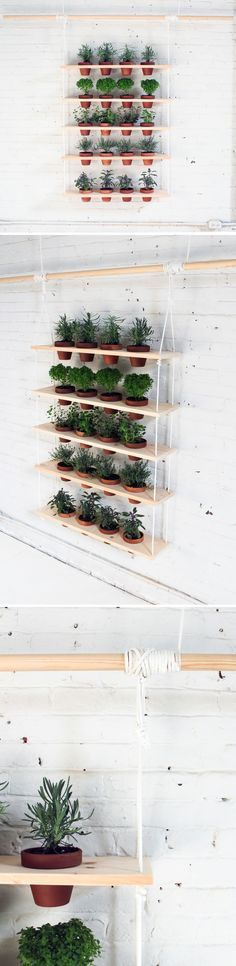 This DIY vertical garden is an easy-to-make project that can turn a window into a beautiful and productive herb garden. Check out the website for instructions: http://www.homemade-modern.com/ep29-hanging-garden/