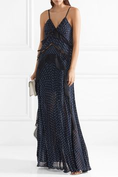 764d0895274b0 Midnight-blue and white fil coupé chiffon, black lace Concealed hook and  zip fastening