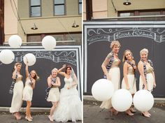 Love these bridesmaid dresses! [Modern Downtown Wedding: Amanda + Kjirk on Green Wedding Shoes]