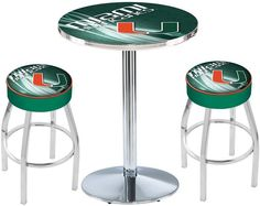 Miami Hurricanes D2 Chrome Pub Table Set. Available in two table widths.  Visit SportsFansPlus.com for Details.