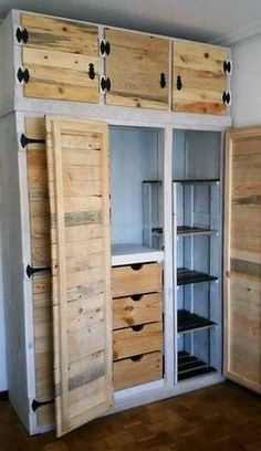 Right here we came up with a superb design of wooden pallet closet for you. This three large door wardrobe is in pure wooden texture seems attractive enough to craft for adding beauty to your place. This eye-catcher closet is best to store and place all useful items in it.