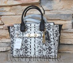 Coach 36499 Swagger 27 Satchel Bag Exotic Embossed Leather Black/White NWT $650 #coach #Satchel