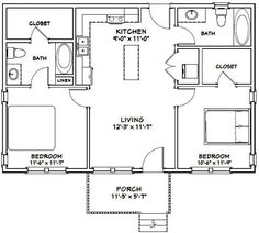 Small House Floor Plans, Kitchen Floor Plans, Small House Plans, Small Log Cabin Plans, Small Bathroom Floor Plans, Loft Floor Plans, Home Design Floor Plans, The Doors, House 2