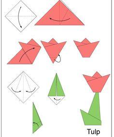 fácil crianças para crianças Tulipán origami Tulips origami for kids Tulipán origami Tulips origami Tulip Origami, Origami Paper Folding, Kids Origami, Origami And Kirigami, Origami Fish, How To Make Origami, Origami Butterfly, Paper Crafts Origami, Origami Art