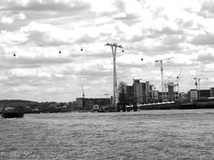 View from the River Thames of the Emirates cable cars