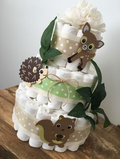 Woodland Diaper Cake, Baby Shower Centerpiece, Gender Neutral by BuzzyDiaperCakes on Etsy https://www.etsy.com/listing/456845574/woodland-diaper-cake-baby-shower