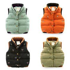 New Pattern Down Cotton-padded Girls Boys Vest Waistcoat Loaded Vest embroidered Children's Winter Spring Jackets velvet Coats