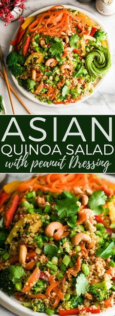 Asian Quinoa Salad with Peanut Dressing recipe is the perfect side dish or meatless main dish! It's loaded with veggies, high in protein and bursting with flavor! #quinoa #glutenfree #dairyfree #vegan #salad #sidedish #peanutsauce