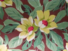 Flower-of-Martinique-Magnolia-on-Creamy-Chocolate-VTG-Barkcloth-Fabric-NVR-USD