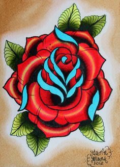 Red rose with blue highlights tattoo