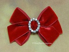 "13 Colors! Small Dressy Velvet  Hair Bow with Rhinestone Center - 3"" - Holidays, Birthdays, Weddings, Special Occasion Hair Bow"