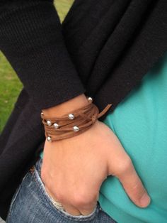 Suede Leather and Sterling Silver Beaded Wrap -- Bracelet or Necklace
