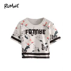 Günstige ROMWE Damen Sommer Tops 2016 Frauen T shirt Top Mode Für Frauen  Weiß Kurzarm Brief 0ff84164e4