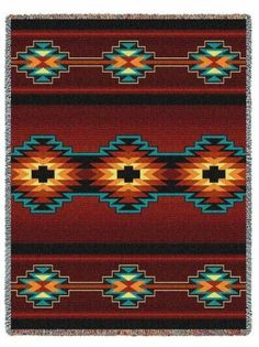 Southwest Indian Western Essme Red Tapestry Throw Afghan Blanket or Pillow | eBay