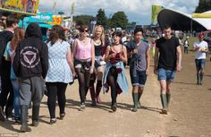 Revellers started day two of Leeds Festival with sunny skies. Dark clouds brought wind and. Enjoy The Sunshine, Music Festivals, Leeds, Sunnies, Bring It On, Rain, Rain Fall, Sunglasses, Shades