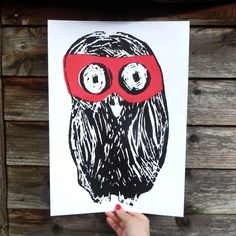 Our OWL* is wearing a beautiful red mask and looks a bit shy. The print is a high quality giclee print made . Red Mask, My Hero, Love Is All, Screen Printing, Christmas Stockings, Giclee Print, The Incredibles, Prints, How To Make