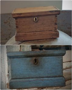 Before and After Painted a customer's lidded box with a couple of shades of blue. Primitive Antiques, Primitive Folk Art, Primitive Painting, Small Drawers, Wood Bowls, Treasure Boxes, Paint Finishes, Primitives, Cupboards