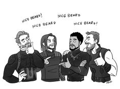 Avengers: Infinity War || Beard Bros - Steve Rogers (Captain America),Bucky Barnes (Winter Soldier),T'Challa (Black Panther),Thor Odinson (Mjolnir)