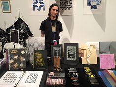 Artist Tauba Auerbach at her Diagonal Press booth
