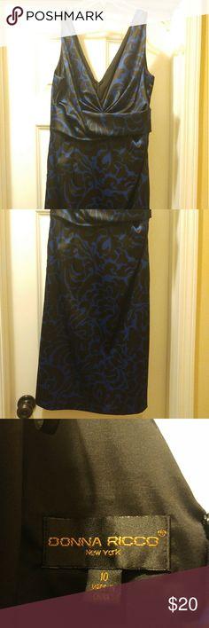 "Cocktail Dress Black & Blue Cocktail Dress...Knee-length (I'm 5'4"")...Deep V-neck Donna Ricco Dresses"