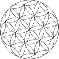 The Seed of Life is the companion symbol to the larger flower of life, and consists of its central circles. It is also very potent, although it might have slightly different effects on the human psyche than the Flower of Life. Geometric Coloring Pages, Mandala Coloring Pages, Geometric Circle, Geometric Shapes, Geometric Flower, Geometric Sleeve, Stained Glass Patterns, Mosaic Patterns, Flower Of Life Symbol