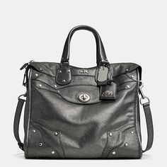 Metallic Coach satchel in gunmetal. Drool.