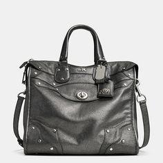 Metallic Coach satchel in gunmetal. Drool.