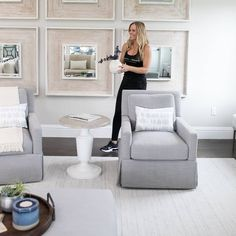Behind me is a huge wall that needed some love. We added a grid of beautiful mirrors by @uttermostcompany to liven up the space. Large scale art can be costly so if you have an empty wall consider grouping small mirrors or pieces of art together for a designer look. : @palmbeachcreative