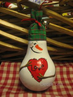 Hand Painted Christmas Snowman Love Lightbulb Light Bulb Ornament OOAK HP