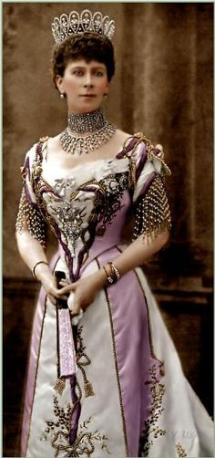 a hand-coloured print, showing Mary in the Boucheron Loop tiara, and wearing the Surrey tiara, which she got married in, as a necklace