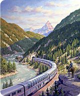 Amtrak's 'Empire Builder' train travels from Chicago to Seattle.  It's equipped with special observation cars and travels through compelling landscapes on timetables calculated to make the most of the views.