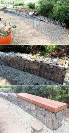 small garden gabion wall with seat showing hand stacked grade rock in the Fence Landscaping, Backyard Fences, Garden Fencing, Pool Fence, Back Gardens, Outdoor Gardens, Fence Design, Garden Design, Cerca Natural