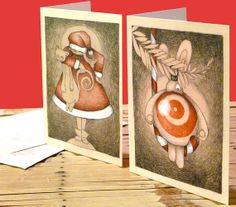 Christmas cards for sale! With illustrations by Lotte Teussink, matching envelopes included. Visit my Etsy store for the price and more information.