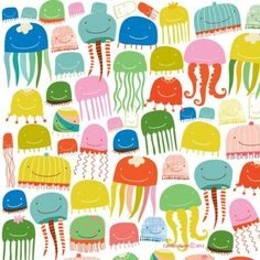 Cute jellyfish holiday wrapping paper