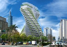 Agora Garden, Luxurious Residential Tower, Taipei Taiwan Watch Agora Garden illustration VIDEO Designed by Vincent Callebaut Architecture and Architecture Durable, Architecture Design, Green Architecture, Futuristic Architecture, Sustainable Architecture, Amazing Architecture, Sustainable Food, Sustainable Living, Parks In New York
