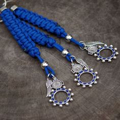 Blue Paracord Rosary Ring Lanyard | CordBands
